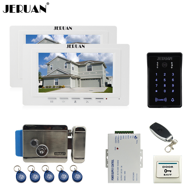 JERUAN 7`` TFT Video Intercom Video Door Phone System 2 white monitor RFID Waterproof Touch key Camera+Remote control Unlocked jeruan luxury 7 lcd video doorphone intercom system 2 monitor rfid waterproof touch key password keypad camera remote control
