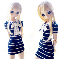 New Arrival 1/3 SD DD BJD Doll Clothes Navy wind Crew neck knitting stripe skirt/Dress