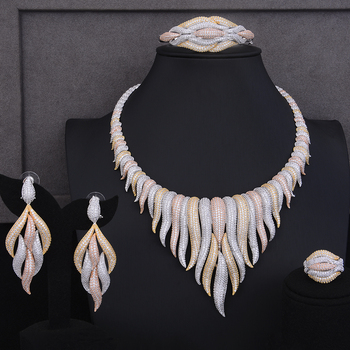 GODKI Super Luxury glacier Tassels 4PCS African Necklace Zircon Jewelry Sets For Women Wedding Indian Nigerian Party Jewelry Set 4