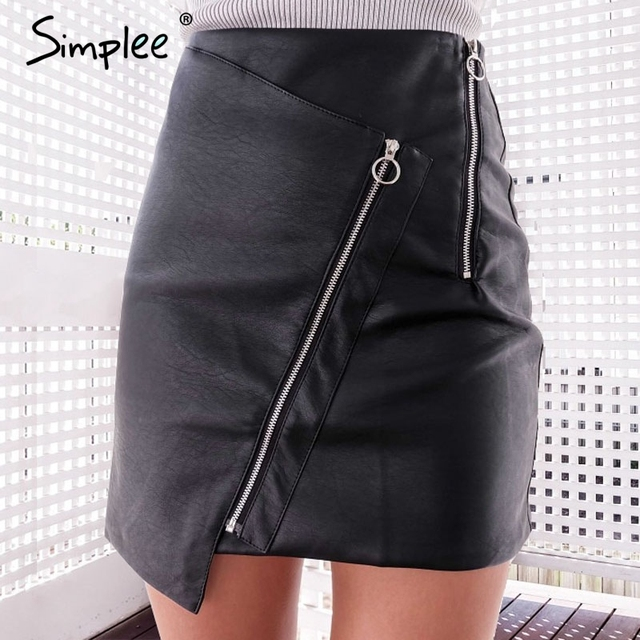 Simplee Vintage high waist zipper leather skirt Punk short black pencil skirt   Autumn winter 2017 mini skirts womens bottoms