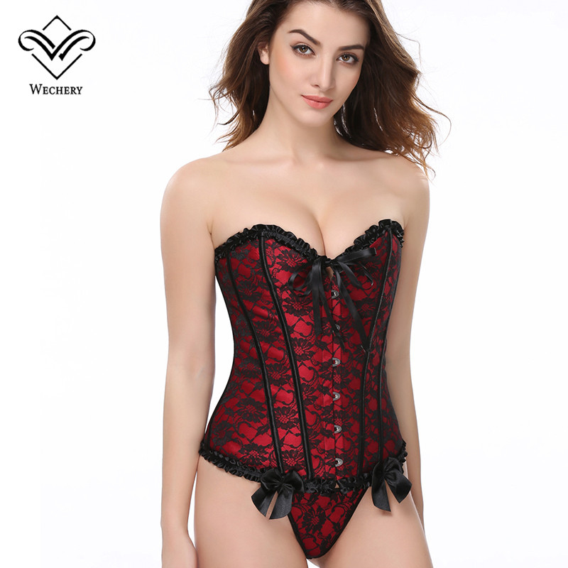 Wechery Women   Bustier  &  Corset   Sexy Gothic Clothing Steampunk   Corset   Lace up Corsage basque Slimming Shaper Shoulder   Corset   S-6XL