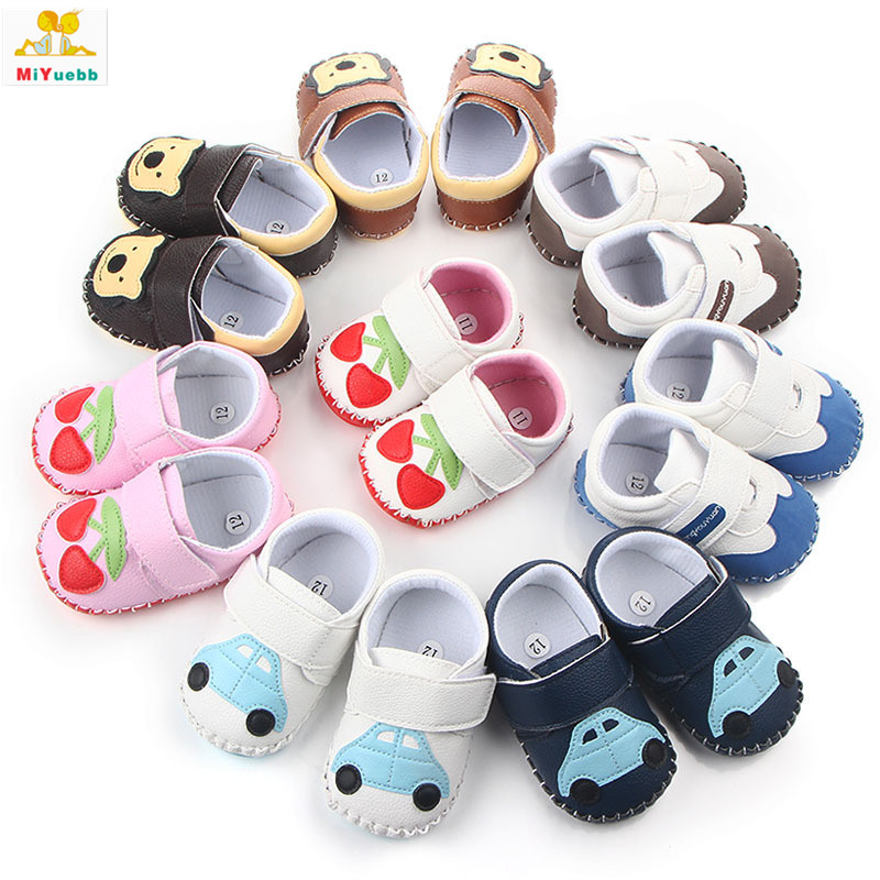 Spring Autumn Newborn Prewalker Rubber Sole PU leather Anti-skid Cartoon Baby Toddler Crib Kids Handtailor Shoes OFDh