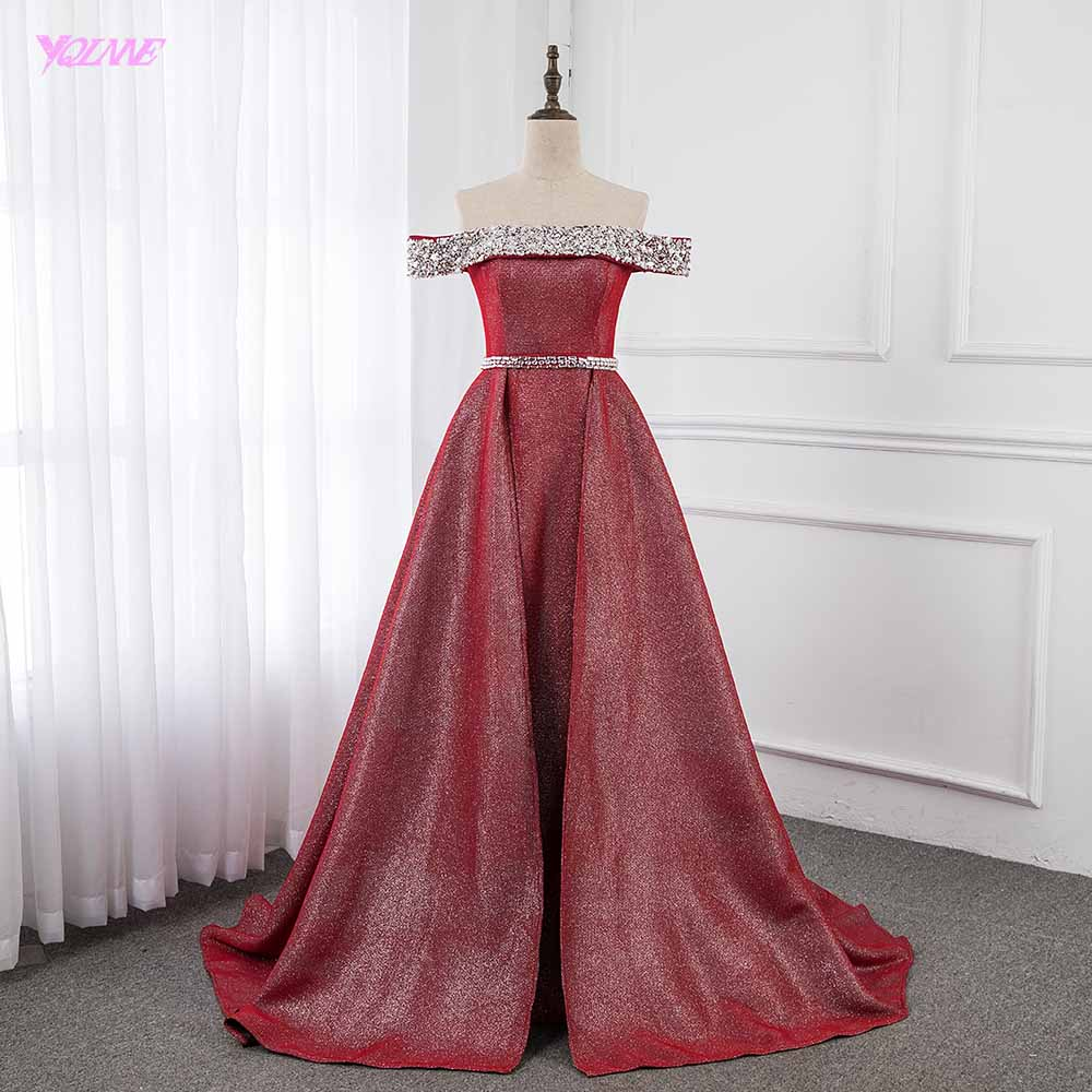 Wine Red Off the Shoulder Formal   Evening     Dresses   Long Crystals   Evening   Gown YQLNNE