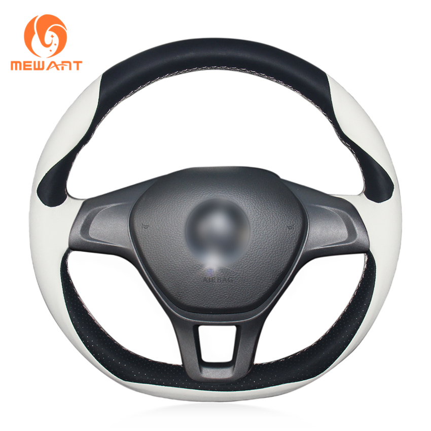MEWANT Black White Genuine Leather Car Steering Wheel Cover for Volkswagen VW Golf 7 Mk7 New Polo 2014 2015 2016 2017 special hand stitched black leather steering wheel cover for vw golf 7 polo 2014 2015