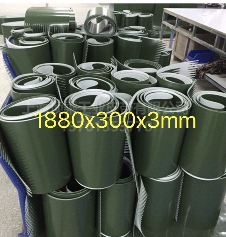 (Customized Size) Perimeter:1880mm Width:300mm Thickness:3mm Industrial transmission line belt conveyor PVC belt farman pvc conveyor belt thickness 1 5mm color green