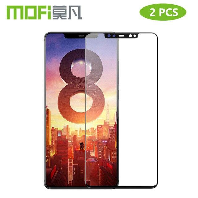 สำหรับ Xiao Mi 8 กระจกนิรภัย Mofi สำหรับ Xiao Mi Mi 8 Lite ฟิล์มแก้ว Mi 8 Pro ป้องกันหน้าจอสีดำ 2 PCS