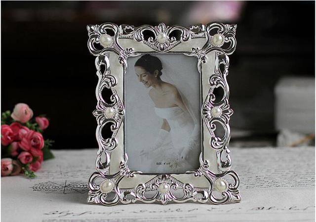Europe metal Alloy 6inch Vintage Pearl Wedding Photo Frames Metal ...