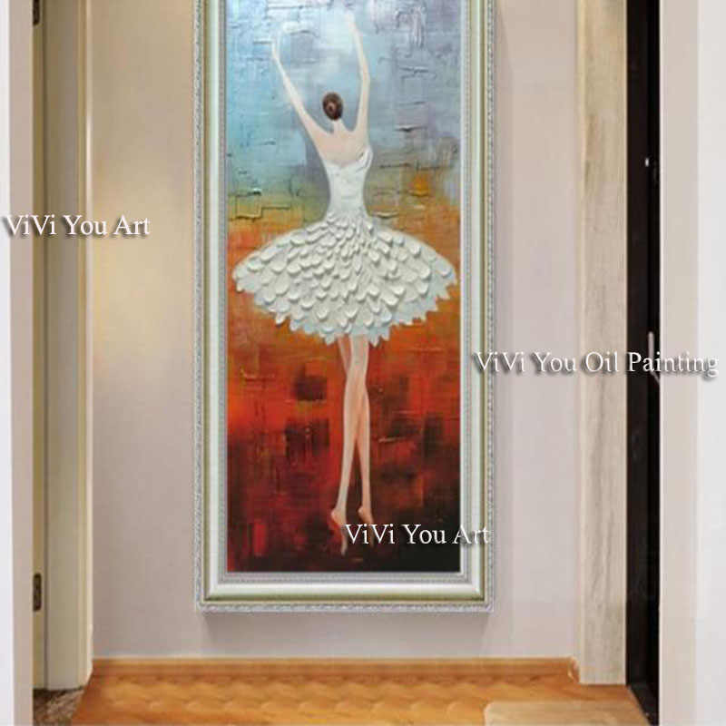 Penari Balet Tangan Dicat Gambar Modern Abstrak Pisau Palet Lukisan Cat Minyak Di Atas Kanvas Seni Dinding untuk Ruang Tamu Dekorasi Rumah