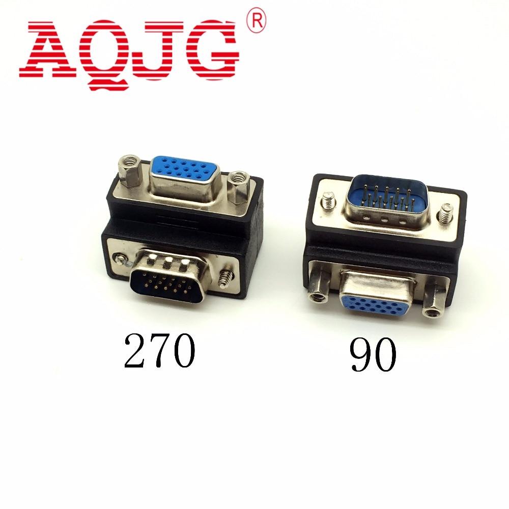 D-Sub 15pin VGA Male To Female Convertor Monitor DB15 VGA RGB HDB Extender 90 Degree Connector 270 Degree AQJG