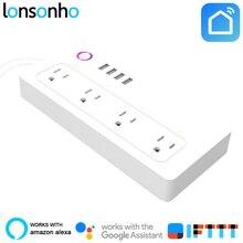 Lonsonho Wifi Smart power Strip Защита от перенапряжения 4 AC розетки 4 USB порт работает с Alexa Google Home Mini IFTTT Smart Life