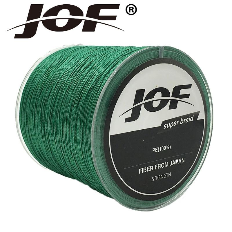 JOF 4 filamentos 100M PE trenzado línea de pesca multifilamento línea de pesca cable gris / amarillo / azul / verde / naranja / rosa rojo 8-100LB