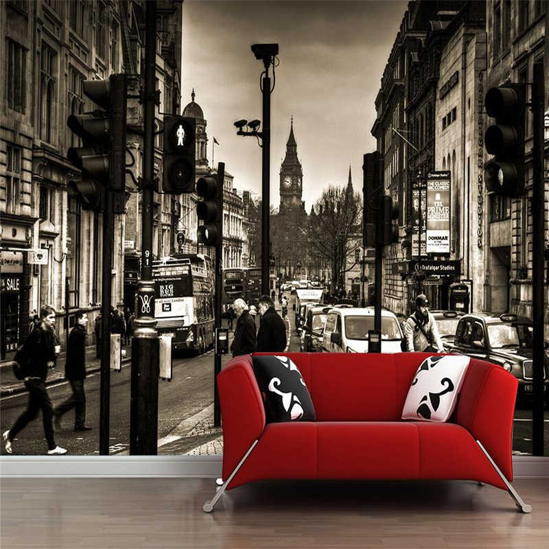 Beibehang Black and white 3d custom wallpaper London retro city european-style wallpaper photo sitting room 3 d wallpaper