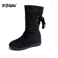 Women Winter Snow Boots Mid Calf Solid Flats Winter PU Boots Women Warm Plush Boots Ladies