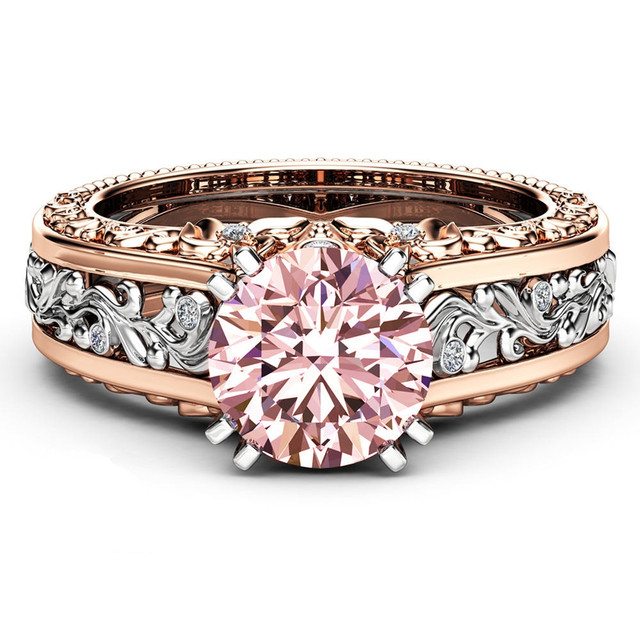 Rose Gold Color Engagement Wedding Ring for Women Red/Pink/Blue Zircon Finger Ring Fashion Women Jewelry bague femme Size 5-11