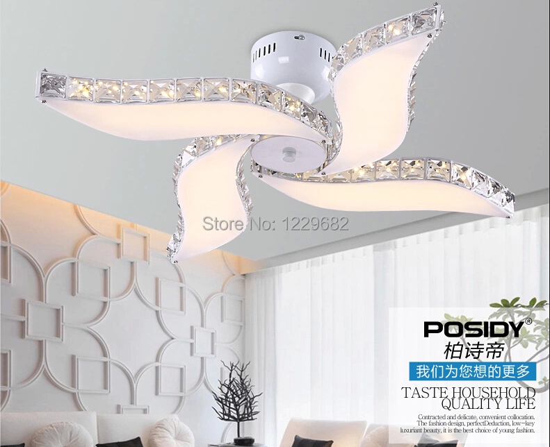 new modern led ceiling fan design light crystal light with acrylic lampshade for bedroom and dinning room lustre homein ceiling lights from lights