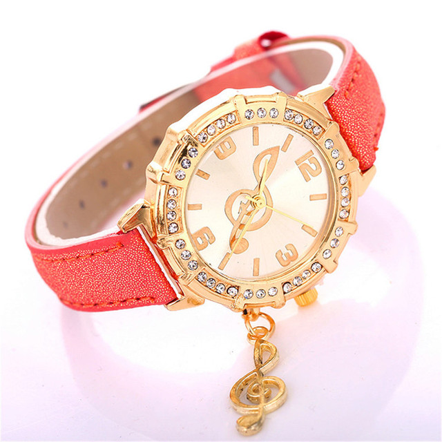 Popular Women's Watches Fashion Musical Symbols Bracelet Watch Ladies Leather Ca