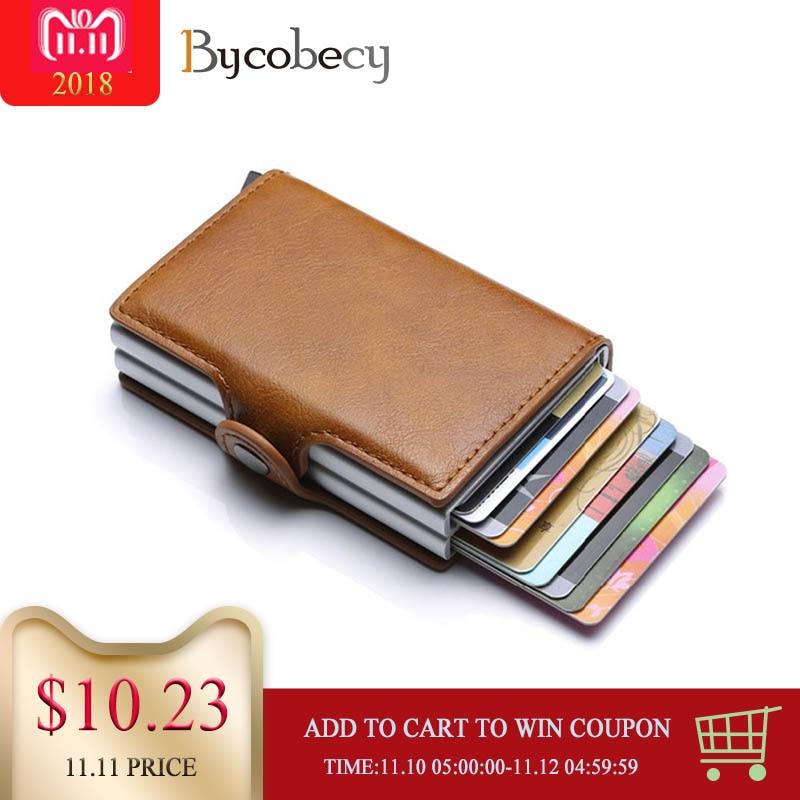 Bycobecy 2018 Karte Halter Brieftasche RFID Blocking Doppel Metall Box Kreditkarte Aluminium Leder Visitenkarte Fall Geldbörse