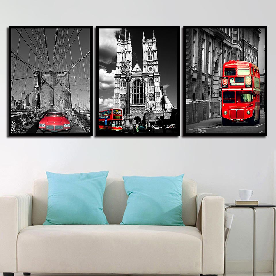 Us 1 8 44 Off Canvas Nordic Posters Nursery Decoration Street Red Car Landscape Wall Art Hd Prints For Baby Room Painting Picture Kids Bedroom In