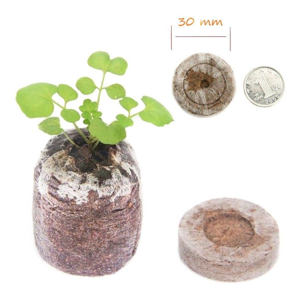 100pcs 30mm Peat Pellets Jiffy Plugs Home Starting NURSERY Garden Plant Starter Environmental Transplanting Seedling Soil Block