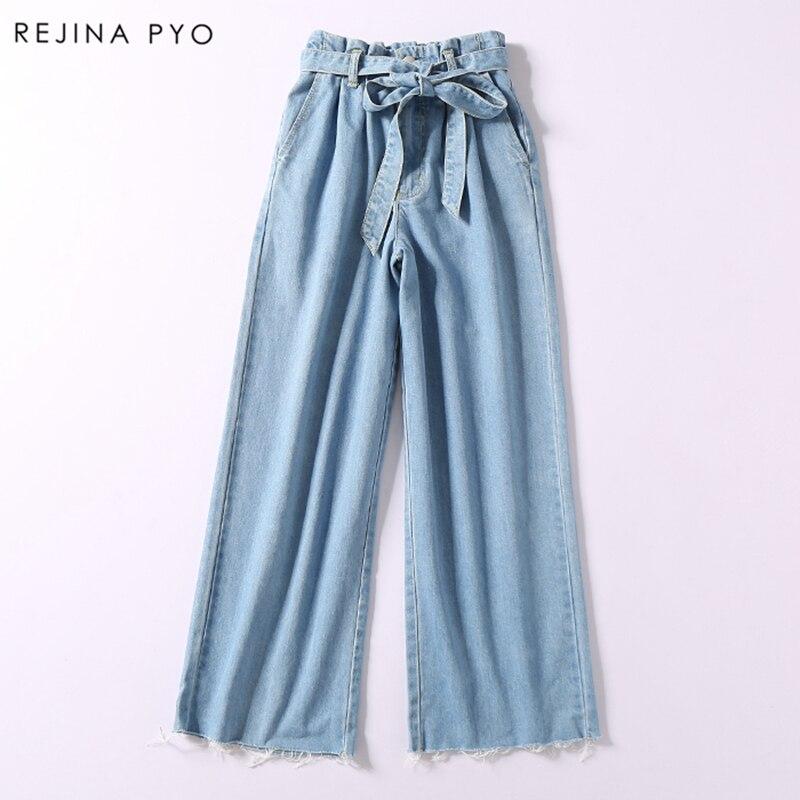 REJINAPYO 2019 Spring New Arrival Women Casual Blue Wide Leg Pant High Sashes Waist Tassel Bottom Denim Trousers