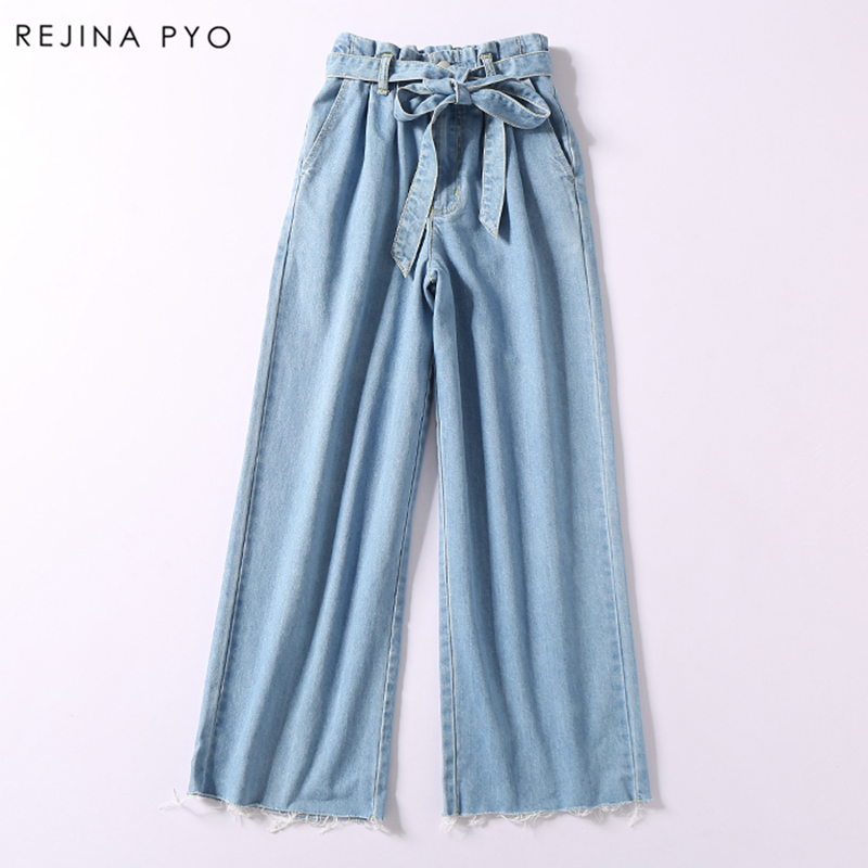 REJINAPYO 2019 Spring New Arrival Women Casual Blue   Wide     Leg     Pant   High Sashes Waist Tassel Bottom Denim Trousers