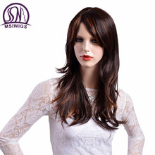 MSIWIGS Long Straight Hair Synthetic Wigs Brown with Yellow Highlights Ombre Wig for Women High Temperature Fiber