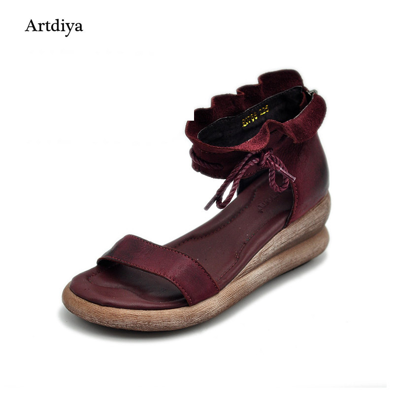 Artdiya 2018 summer original design handmade women shoes genuine leather high heels thick bottom women sandals 93788