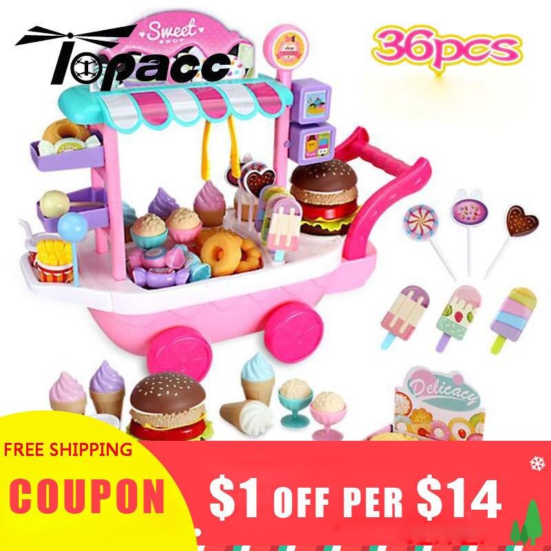 36Pcs Sweet Shop Miniature Cart Ice Cream Dessert Baby