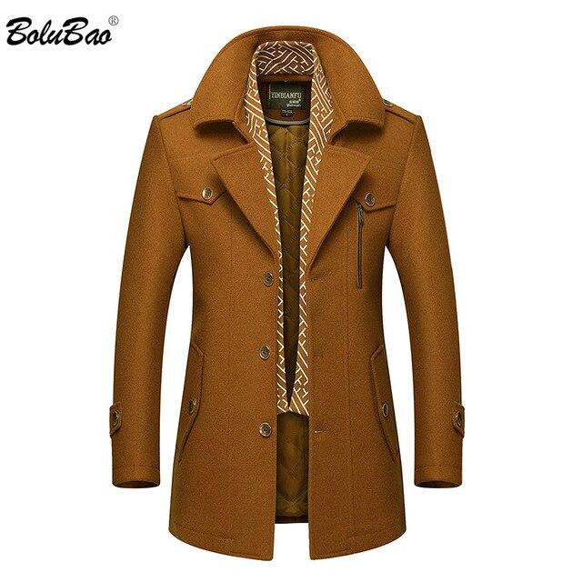 Bolubao masculino casaco de lã de inverno moda masculina gola virada para baixo quente mistura de lã grossa casaco de ervilha masculino trench coat