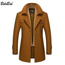 Bolubao男性冬のウールのコートのファッションターンダウン襟暖かい厚手のウールブレンドエンドウコート男性トレンチコートオーバーコート