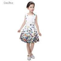 CmsDxz 2017 Summer Girls Dress Butterfly Floral Print Princess Dresses For Baby Girls Sleeveless Designer Formal