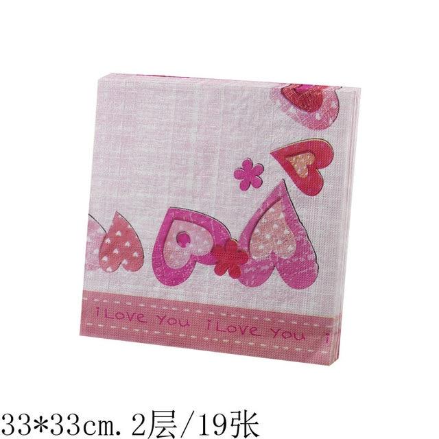 Serviettes Papier Serviette De Tissu Rose Rouge Coeurs Je T Aime
