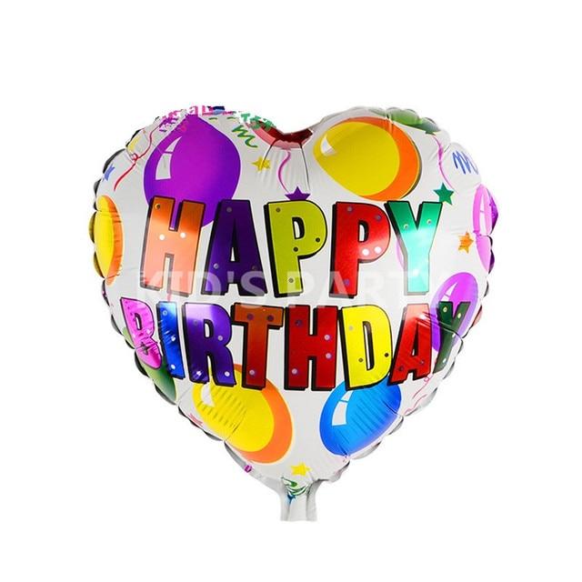 3pcs Lot Happy Birthday Balloons Letter Helium Metallic Heart Ballon Party Decoration Globos Palloncini Free Shipping