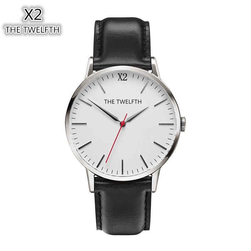 2016 New Fashion Brand THE TWELFTH Watch Men And Women Leather Strap Japan Movement 38MM Dial Dress Quartz Watch X2-1210 Reloj 2016 aladdin and the magic lamp watch the young men and women fashion quartz pocket watch table birthday gift ds262