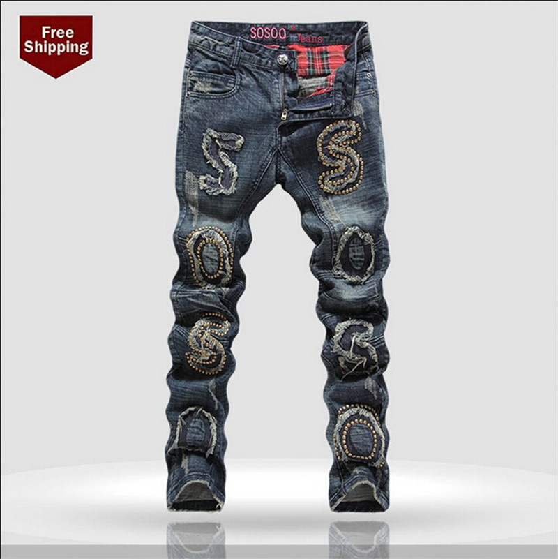 ФОТО Hot Sale Brand Ripped Jeans Men Fashion Jeans Slim Fit jeans Skinny Printed Jeans Plus Size 28-38