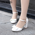 LIN KING Summer Shoes Women Bowtie High Heels Sandals Buckle Ladies Lolita Shoes Women Pumps Chaussure Femme Plus Size 34-43
