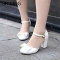 LIN REI Verão Sapatos Mulheres Bowtie Sandálias de Salto Alto Senhoras Fivela Sapatos Lolita Mulheres Bombas Chaussure Femme Plus Size 34-43