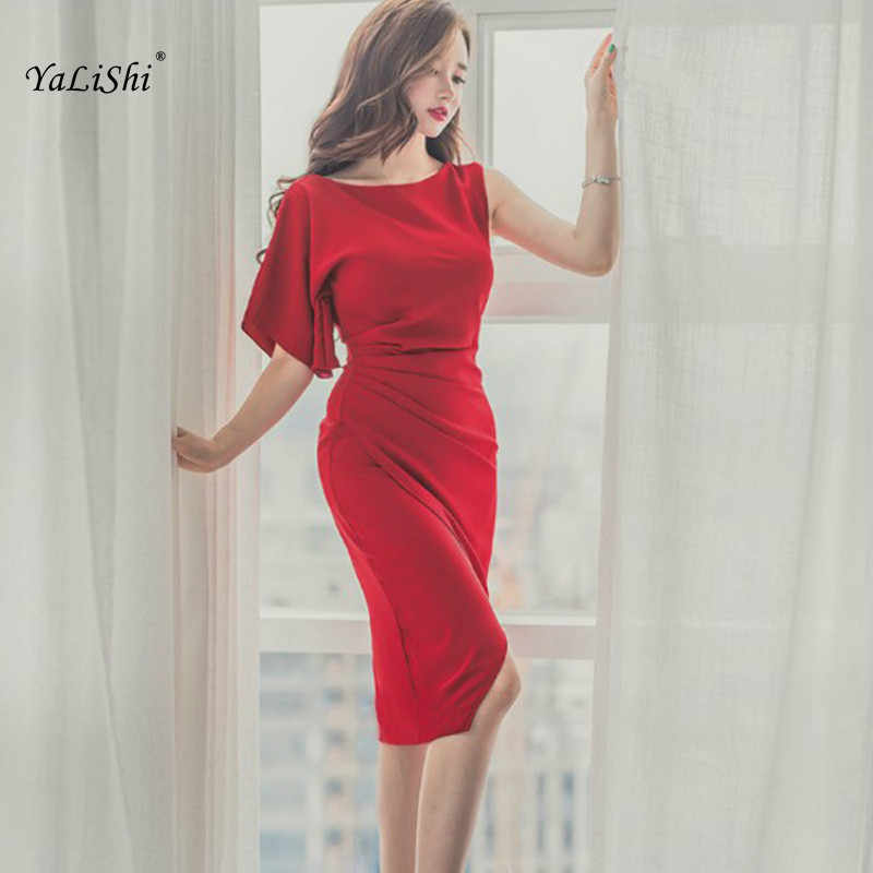 a9a14d26bf3 Detail Feedback Questions about 2018 Solid Summer Bodycon Bandage Dress  Women Red One shoulder Knee length Office Dress Vintage Elegant Party Dress  Vestidos ...