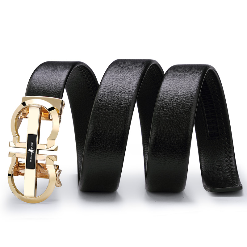 Image 3 - Williampolo  Luxury Brand Designer Leather Mens Genuine Leather Strap Automatic Buckle Waist Belt Gold Belt PL18335 36P-in Men's Belts from Apparel Accessories