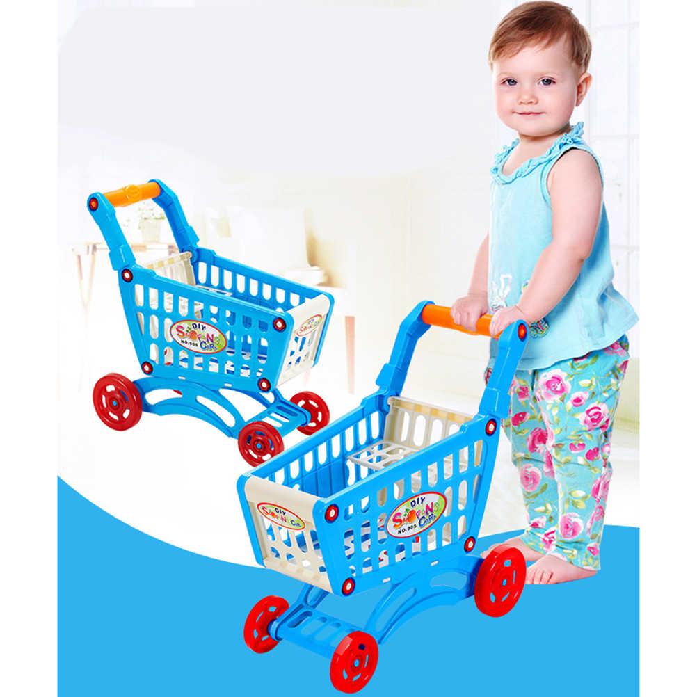 محاكاة عربة تسوق في المتجر التظاهر اللعب لعب عربة بلاستيكية صغيرة تلعب لعبة طفل هدية الكريسماس الاطفال اللعب الكلاسيكية