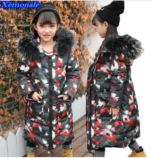 2017 Warm Kids Down Jacket For Girl Children's Cold winter Jackets Boys Coat Long Pattern Child Girls Clothes Parka -20-30Degree 2016 winter boys parka snowsuit kids warm jacket clothes girls children cartoon padded jackets hoodies outwear down coat child