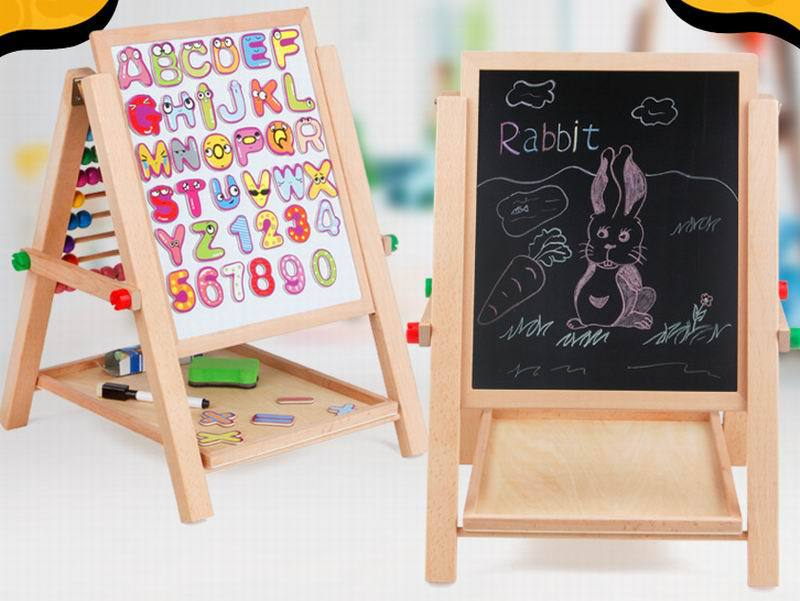 ФОТО New woooden toy 3-in-1 Blackboard, darwing board, magnetic board and beaded around toy baby toy Free shipping