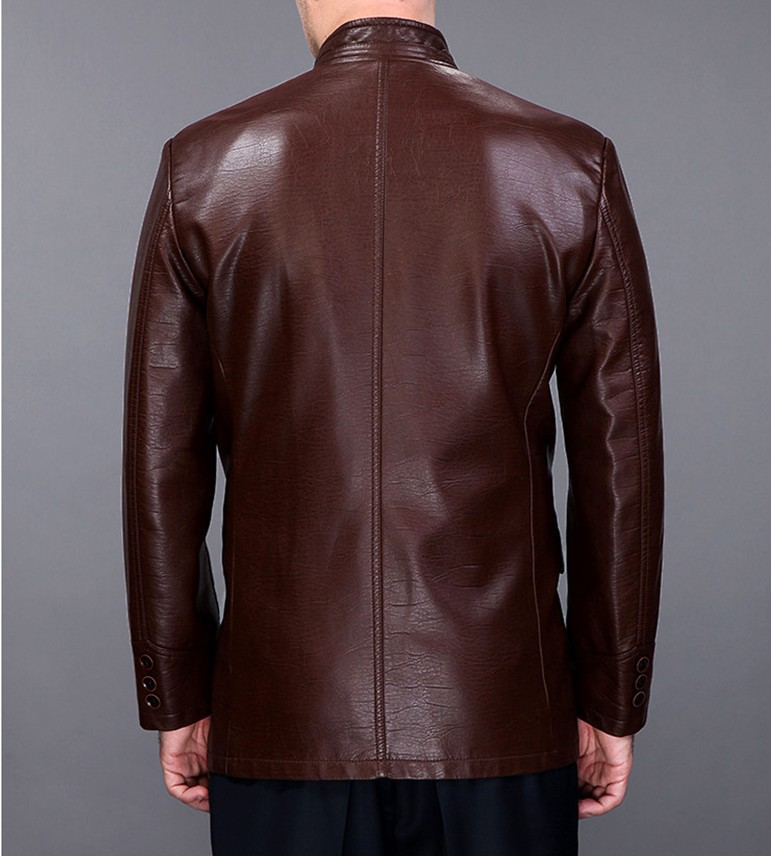 High quality leather Motorcycle jacket Collar single breasted ...