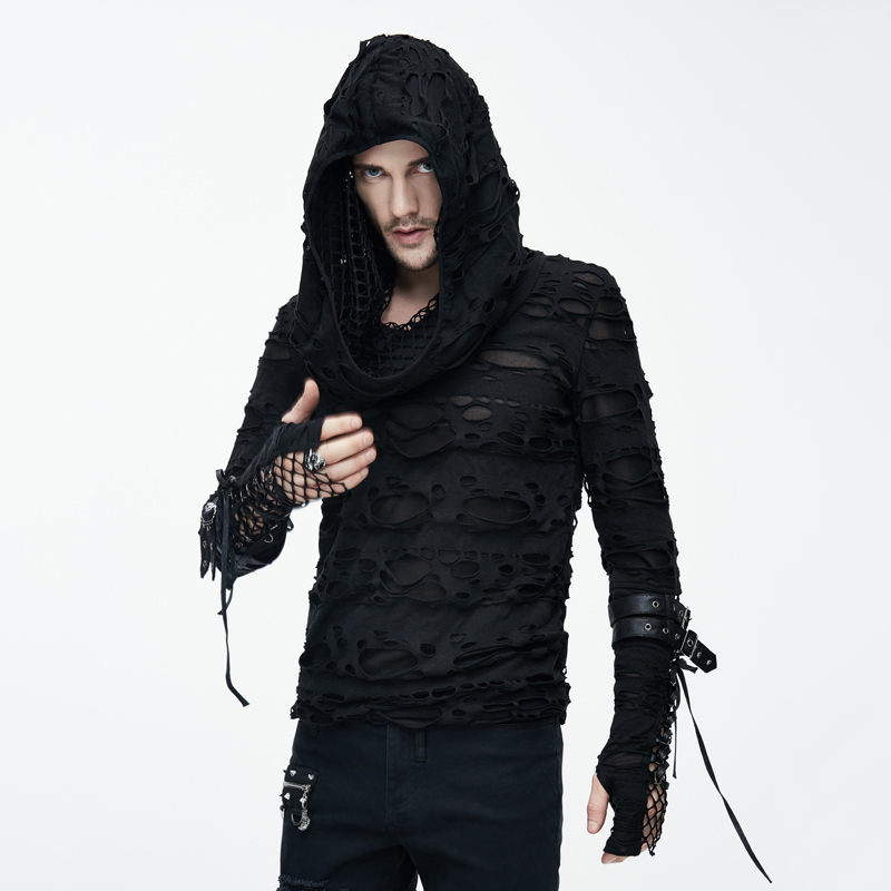 Devil Fashion Gothic Dark Decadent T Shirts for Man Visual Kei Steampunk Holes Long Sleeves Tee Shirt with Hoody Casual Tops