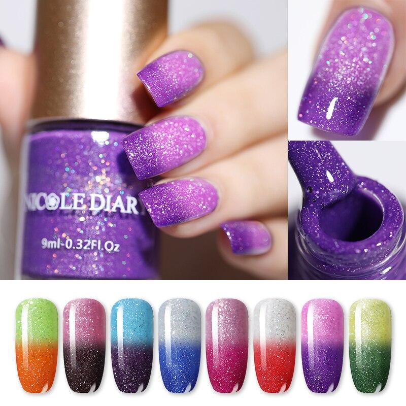 a265d15932 Nail DIARY Glitter temperatura esmalte de uñas cambio de Color térmico a  base de agua pintura de uñas barniz 8 colores