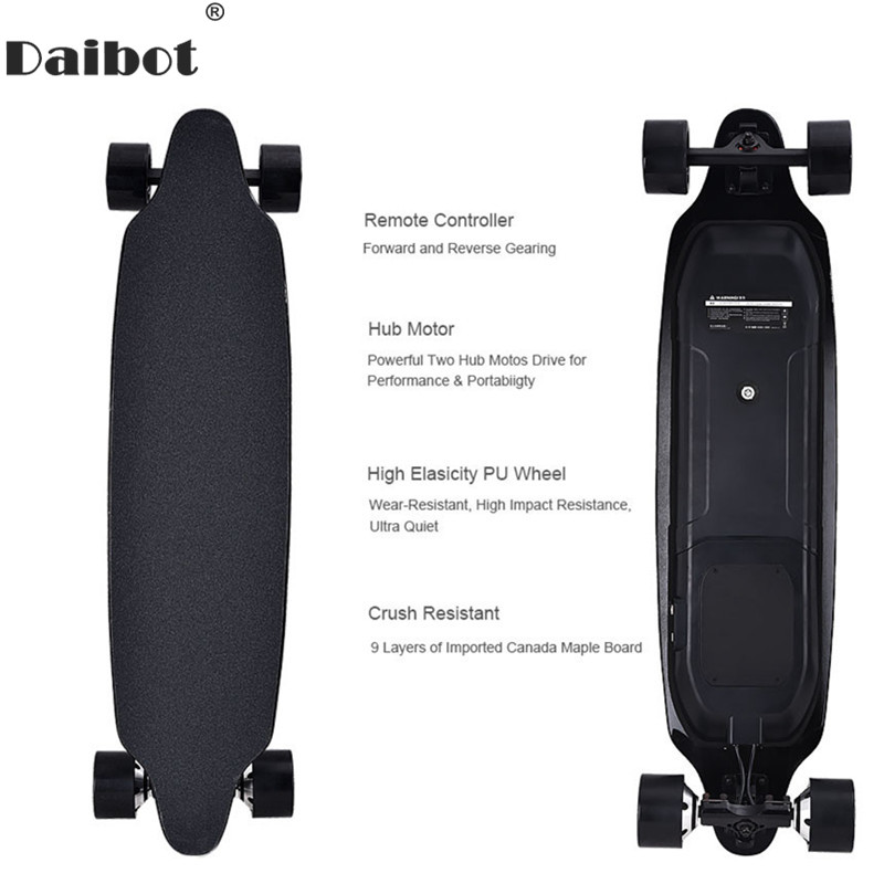 Daibot Electric Scooter For Adults 4 Wheel Electric Scooters 40KM/H Dual Hub Motor Remote Longboard Electric Skateboard daibot electric scooters adults two wheel electric scooters samsung lithium battery 24v folding electric skateboard scooter