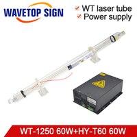 Tubo do laser do co2 wt1250 60 w comprimento 1250mm dia.55mm + fonte de alimentação do laser HY-T60 60 w para o corte do laser do co2 e máquina de gravura