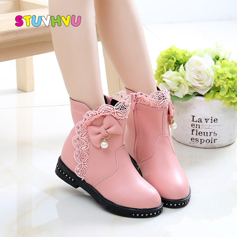 Fashion Girls Boots Leather Princess Shoes Lace Bow Children Shoes 2019 Autumn And Winter New Warm Kids Snow Boots Girls Shoes