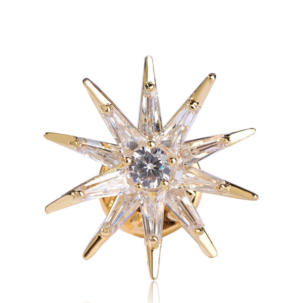 Cubic Zircon Star Brooches Gold-Color Copper Brooch Badge Collar Clip Up Exquisite Gift For Boy Girl Harajuku Medal Pins Jewelry