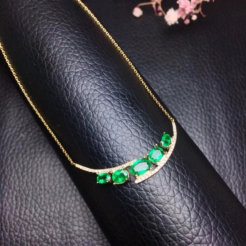 Elegant natural emerald necklace for wedding 5 pieces Zambia emerald silver necklace solid 925 silver emerald fine jewelry